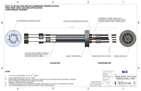 Heater and Thermocouple Feedthrough Assembly